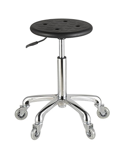 AiMs Grooming Stools in Black with Polyurethane Seat Easy to Roll for Massage Therapy Medical Dental Hair Salon Facial Beauty Tattoo Chairs with Wheels(Height Adjustable 20.5-28.5 Inches)