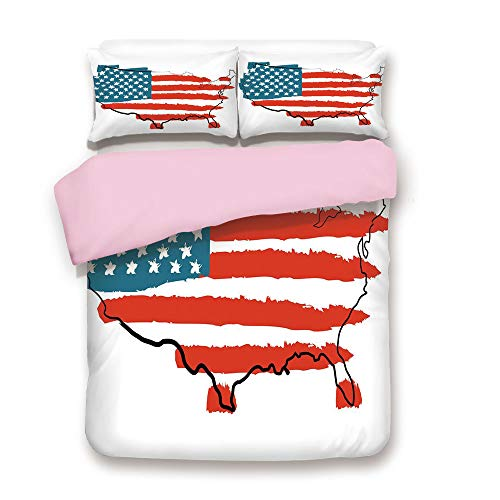 (Pink Duvet Cover Set,FULL Size,Paintbrush Stylized States Map with Sketch Lines over It Cultural Design,Decorative 3 Piece Bedding Set with 2 Pillow Sham,Best Gift For Girls Women,Slate Blue Red White)