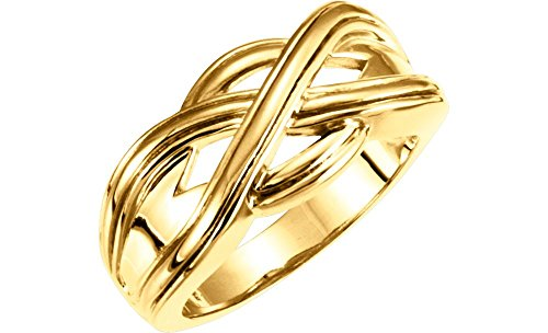 FB Jewels 14K Yellow Gold Woven-Design Wedding Ring Band