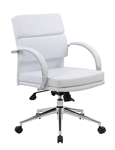 Rousseau Modern Vinyl Desk Chair White Vinyl/Chrome Frame Di