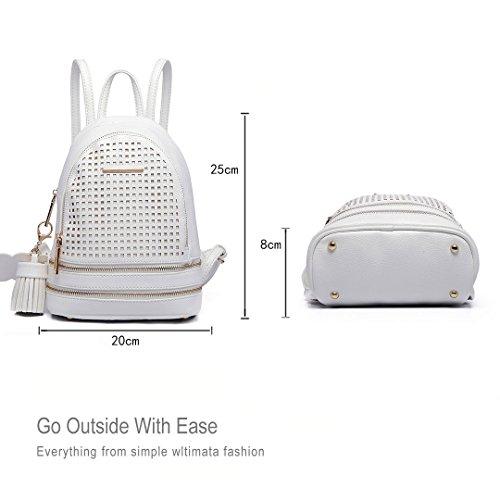 Miss Lulu - Bolso mochila  de Piel Sintética para mujer blanco 1725 White