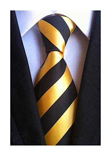 Necktie Accessories Black Polyester Zipper - Mens Black Gold Yellow Jacquard Woven Silk Clip on Ties Business Formal Neckties