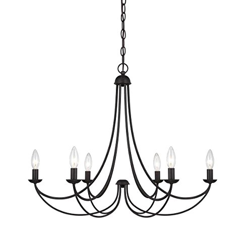 "Quoizel MRN5006IB Mirren Farmhouse Chandelier Lighting, 6-Light, 360 Watts, Imperial Bronze (23"" H x 28"" W) - MIRREN CHANDELIER DIMENSIONS: 23"" High (72"" Max Adjustable Height) x 28"" Wide, Weight: 3.7 LBS, Ceiling Canopy: 5"" Dia LIGHTING: 6-60 Watt Candelabra Base B10-Type Incandescent Bulbs, Does Not Include Bulb(s), 360 Total Watts INSTALLATION: (1) 48"" Chain and Hardware to Mount Fixture to an Existing Junction Box Included (Junction Box Not Included), Installable on Sloped Ceiling - kitchen-dining-room-decor, kitchen-dining-room, chandeliers-lighting - 41DAZPDQKSL -"
