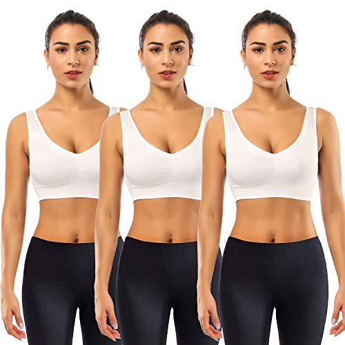 BESTENA Sports Bras for Women, 3 Pack Seamless Comfortable Yoga Bra with Removable Pads(White,Large) ()