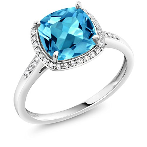 Gold Swiss Cut Ring - Swiss Blue Topaz 10K White Gold Women's Engagement Ring 2.74 Ct Cushion Cut (Size 7)