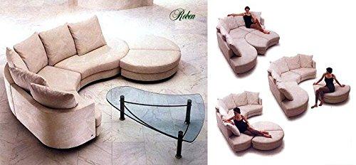 Calia Maddalena–Sofa Design Roben aus Leder Python Pouff Tondo - Diametro 90 cm Pelle Pitone Nero