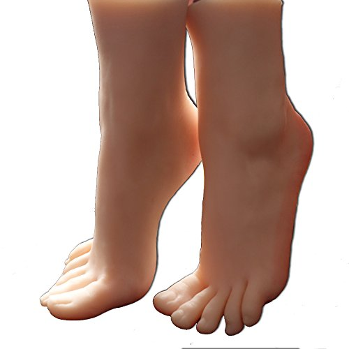 1 Pair Silicone Girl Mannequin Foot Model Display Jewerly Sandal Shoe Sock Display(Without Nail)