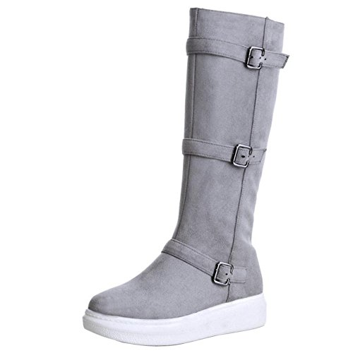 RAZAMAZA Womens High Boots Mid High Party Stretch Low Heel Platform Boots Grey