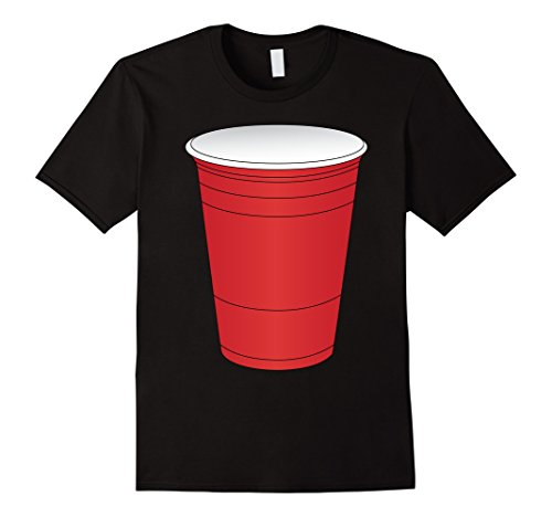 Ping Pong Costume (Mens Red Beer Pong Cup Costume T-Shirt Fun Party Game Medium Black)