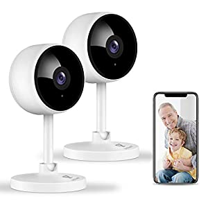 [2021 New] 2 Pack Security Camera, Littlelf 1080P Wifi Camera Indoor Dog Camera Baby Monitor with IR Night Vision…