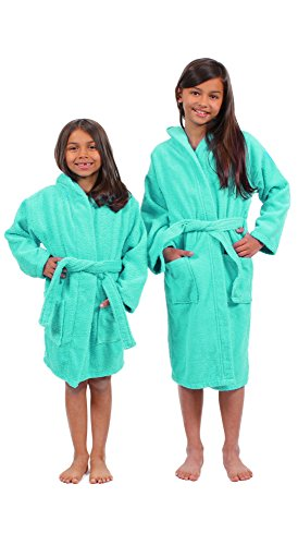 Turkuoise 100% Turkish Cotton Terry Hooded Eco-Friendly Kids Bathrobe-Girls Aqua