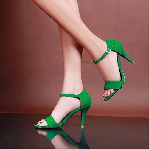 fibbia Sandali Zeppa viola donna aperta per Scarpe con con da zeppa in nero estivi verde SHINIK scamosciata pelle A casual abito xp7BYnwwq