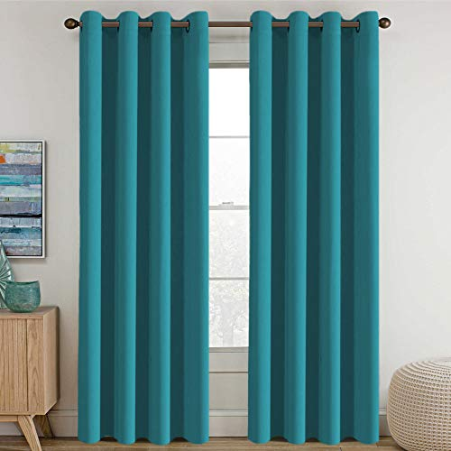 Blackout Thermal Insulated Living Room Curtains 84 inches Long Kids Boys Room Curtains Blackout for Bedroom - Thermal Insulated Room Darkening Window Treatment Grommet One Panel, - Turquoise Blue (Drapes Turquoise Curtains)