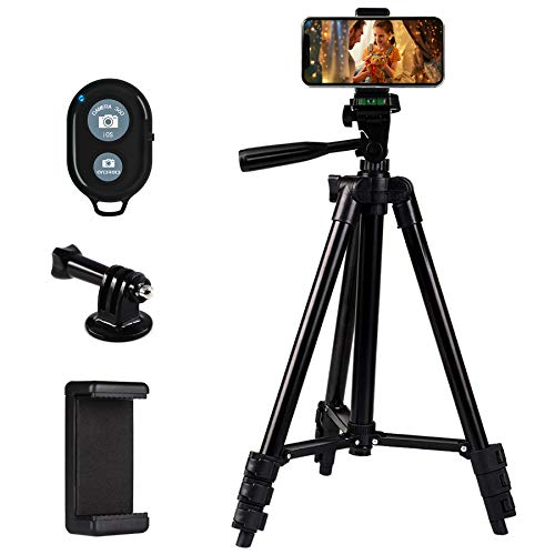 "Zetong Phone Tripod 42"" Aluminum Lightweight Portable Camera Tripod for iPhone/Samsung/Smartphone/Action Camera/DSLR Camera with Phone Holder & Bluetooth Wireless Remote Shutter(Black)"