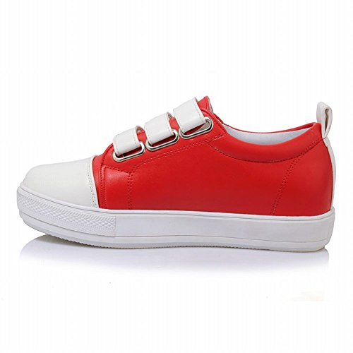 Carolbar Womens Hook-and-loop Komfort Casual Mode Sneakers Rött