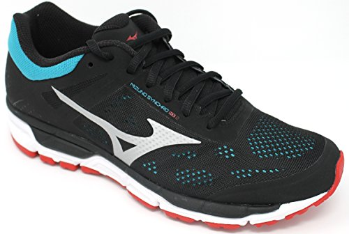 Mizuno Synchro Mx, Zapatillas de Running para Hombre Multicolor (Black/chinesered/tileblue)