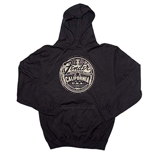 (Fender Guitars Official Electrically Recorded California Pullover Hoodie Sweatshirt (X-Large) Black)