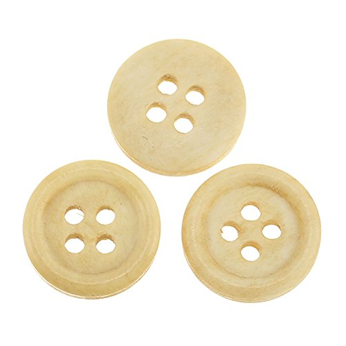 PEPPERLONELY Brand 100PC Natural 4 Hole Scrapbooking Sewing Wood Buttons 15mm( 5/8 Inch)