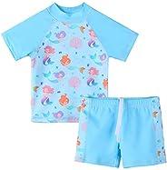 XFGIRLS Toddler Boys' 2-Piece Short Sleeve Swimsuit Trunk and Rashg