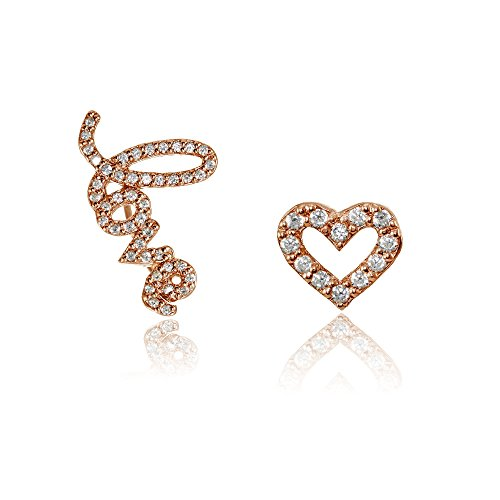 Heart Studded Large Earrings (Rose Gold Flashed Sterling Silver Cubic Zirconia Heart Stud & LOVE Climber Crawler Earrings Set)