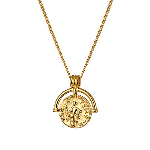 ACC PLANET Coin Necklace 18K Gold Plated Vintage Coin Round High Polish Pendant Christmas Gold Sweater Necklace for Women Girls