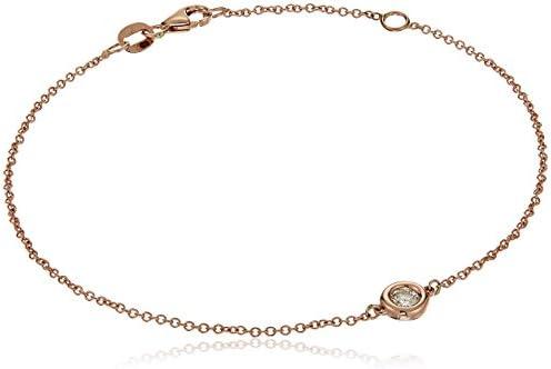 14k Gold Solitaire Bezel Set Diamond with Lobster Clasp Strand Bracelet (J-Okay Color, I2-I3 Clarity)