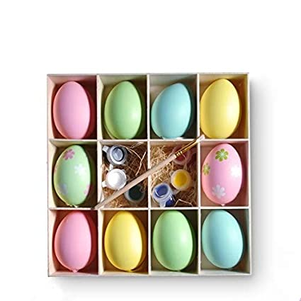 Huevos de Pascua, huevos de plástico 10 colores manualidades DIY pintura Adorno de huevo de