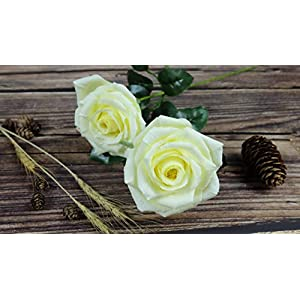 Yellow Paper Rose Handmade Realistic Artificial Flowers Unique Gifts For Her for Wedding Anniversary, Valentine Day, Mother's Day, Ideal for Home Wedding Party Decoration, 01 Single Long Stem 2