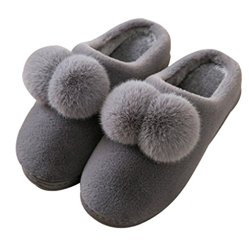 Cattior Mujeres Pompoms Coral Warm Fluffy Slippers Casa Indoor Ladies Slippers Deep Grey