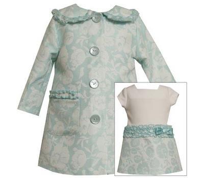 Bonnie Jean Girls Aqua Jacquard Floral Coat & Dress Set , Aqua , 2T - 4T