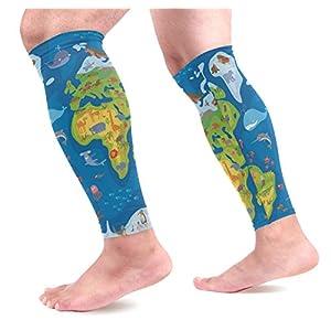 Ahomy – Calcetines de compresión para pantorrilla, diseño de mapamundi, ideal para deportes, trabajo, vuelo, embarazo