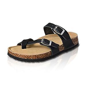 VLLY Women's Leather Flip-Flops Ring Open Toe Cork Sandals