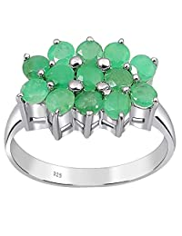 Orchid Jewelry 1.5 Ctw Natural Round Emerald 925 Sterling Silver Rings for Women – an Elegant and May Birthstone Fine Fashion Ring Made in as A Beautiful Thanks Giving Ideas
