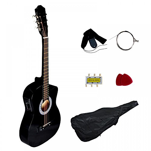 Black Electric Acoustic Guitar Cutaway Design With Guitar Case, Strap, Tuner T4 by FDW
