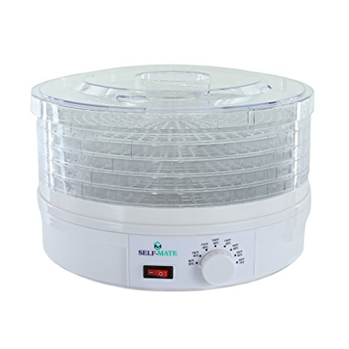 Self-Mate Countertop Premium Food Dehydrator -Stackable Trays, Adjustable Thermostat & Advanced Air Flow System -Great for Healthy Snacks, Fruit, Vegetables, Meat, Fish, Jerky Maker - 245Watts
