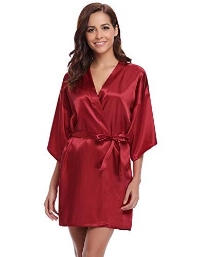 Mariée Sortie Femme Nuit Pure Bain Vêtement Robes Et Abollria Bordeaux De Peignoir Chambre Kimonos Satin Couleur SXxaOq