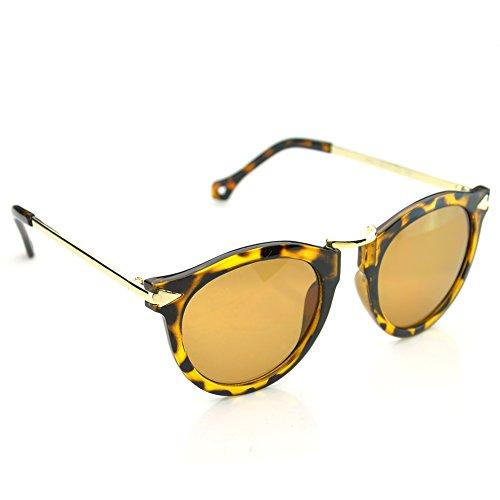 PenSee Retro Vintage Fashion Unisex Round Arrow Style Metal Frame Sunglasses Eyewear - Face Type Sunglasses For Of Round