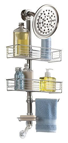 mDesign Bathroom Shower Caddy with Swivel Towel Bar, Soap Dish - Stainless Steel, (Swivel Caddy)