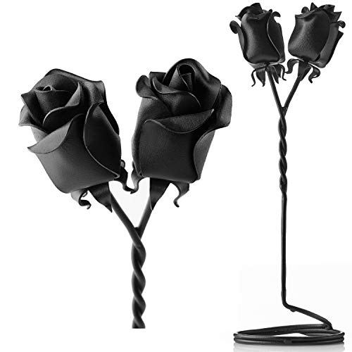 (IK Style Set of 2 Iron Roses Free Standing Twisted Together Forever. Beautiful with Deep Message - Bouquet of Twist(Free Standing))