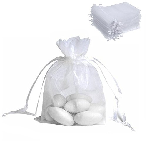ECVILLA 100pcs 4x6 inch Organza Bags - Sheer Drawstring Organza Jewelry Pouches Wedding Party Christmas Festival Favor Gift Bags (White)