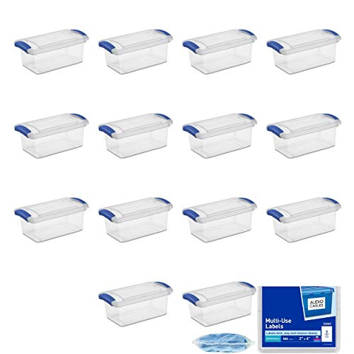 Cheap STERILITE 7 Qt Latch Box, Stadium Blue 14 Pack with 7 Cleaning Cloths and Adhesive Labels