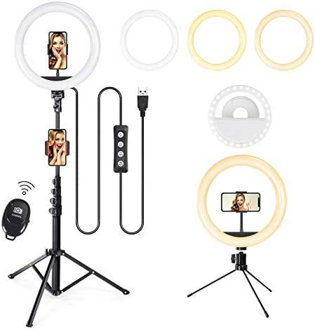"""10"""" Selfie Ring Light with Tripod Stand & Cell Phone Holder, Wireless Bluetooth Remote Control, Dimmable Led Camera Beauty Ringlight for Live Stream/Makeup/Photography/YouTube Videos/Vlog/TIK Tok"""