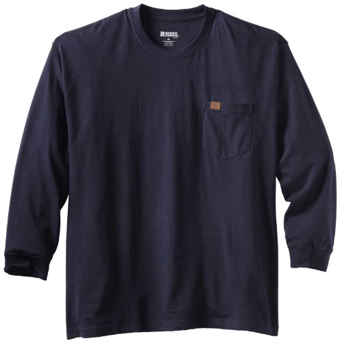 (Wrangler Men's Big Riggs Workwear Long Sleeve Pocket T-shirt, Navy, 3X)