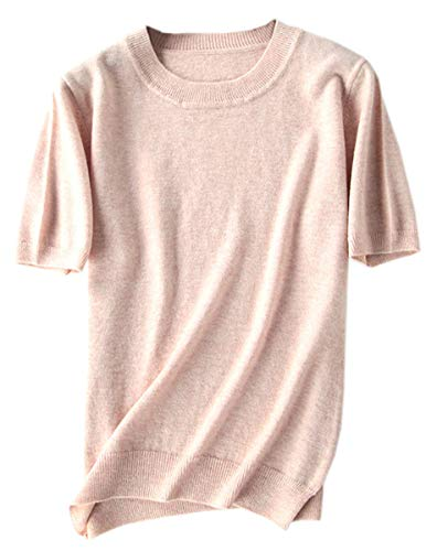 DAIMIDY Women's Short Sleeve Knitted Cashmere T Shirt Blouse Top, Camel, Tag 5XL = US XL