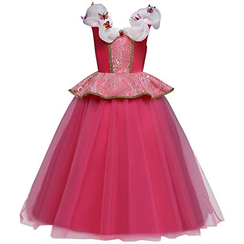 Princess Aurora Dress for Girls Party Dress up Halloween Christmas Costume Sleeping Beauty Fairy Tale Princess Long Gown Pageant Maxi Dresses Kids Baby Fancy Dress Deluxe Cosplay Hot Pink 4-5 Years