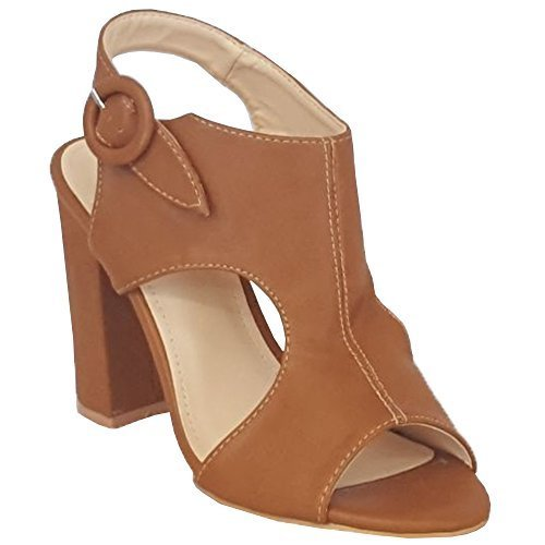 Señoras hebilla fiesta moda sandalias Peep Mule camello para 1706071 zapatos mujer Bloque Toe nuevo talón 11nrWzPc