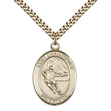 "14kt Gold Filled St. Christopher/Hockey Pendant with 24"" Gold Plated, Stainless Steel Heavy Curb Chain. Patron Saint of Travelers/Motorists"