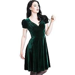 Hell Bunny 40s 50s Elegant Pin Up Dress Joanne Crushed Velvet Green