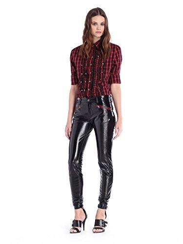 pour Pantalon cuir en Diesel femme Noir Pantaloni P verni NUR 0WHH1dq