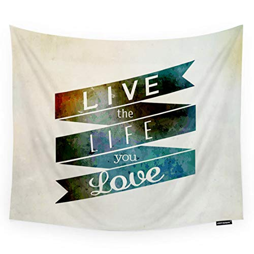 HGOD DESIGNS Love Quote Tapestry Wall Hanging Inspirational and Encouraging Quote Live Life Love Room Decorative Wall Tapestry for Men/Women/Girl/Boy Polyester 60